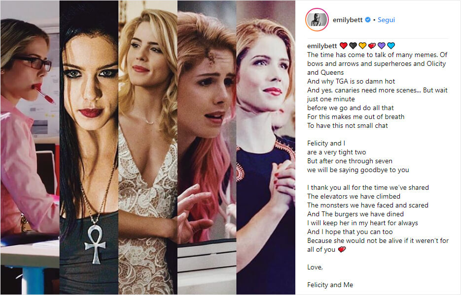 Arrow: Emily Bett dice addio alla nota Serie TV con un Post per i suoi Fan