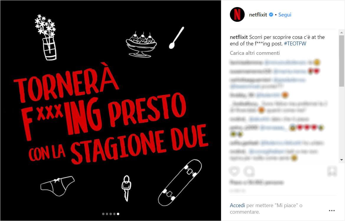 Post Instagram sulla seconda stagione di The End of the F***ing World